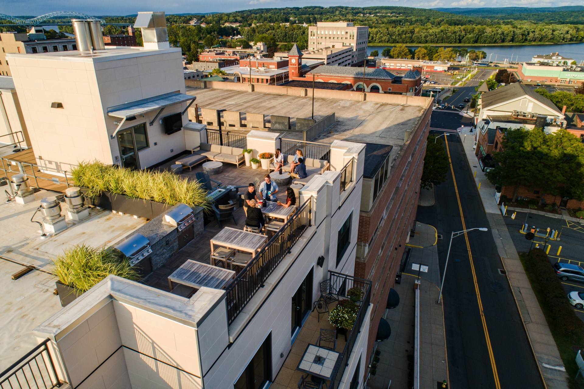 Rooftop deck overlooking downtown Middletown and the Connecticut River