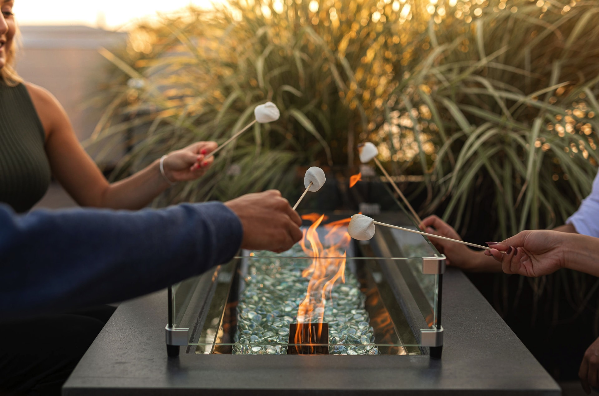 Fire pits on rooftop deck